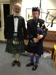 Rob Smith and the Piper after the Toast to the Haggis
